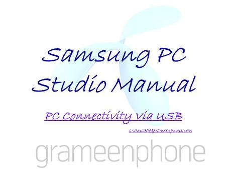 Samsung PC Studio Manual PC Connectivity Via USB