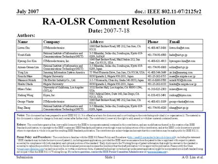 Doc.: IEEE 802.11-07/2125r2 Submission July 2007 A.O. Lim et al.Slide 1 RA-OLSR Comment Resolution Notice: This document has been prepared to assist IEEE.