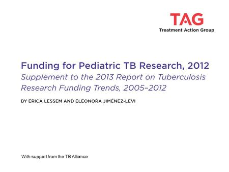 With support from the TB Alliance. 2 Vaccines $3,663,074 (36%) Pediatric TB R&D Investments by Research Category 2012 Total: $10,278,875 Basic Science$814,35.