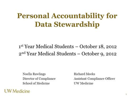 Personal Accountability for Data Stewardship 1 st Year Medical Students – October 18, 2012 2 nd Year Medical Students – October 9, 2012 Noella RawlingsRichard.