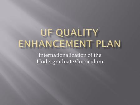 Internationalization of the Undergraduate Curriculum.