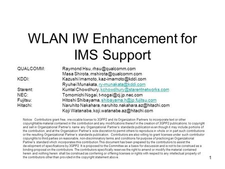 1 WLAN IW Enhancement for IMS Support QUALCOMM:Raymond Hsu, Masa Shirota, KDDI:Kazushi Imamoto,