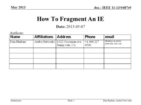 Submission doc.: IEEE 11-13/0487r0 May 2013 Dan Harkins, Aruba NetworksSlide 1 How To Fragment An IE Date: 2013-05-07 Authors: