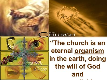 """The church is an eternal organism in the earth, doing the will of God and accomplishing the purpose of God."""