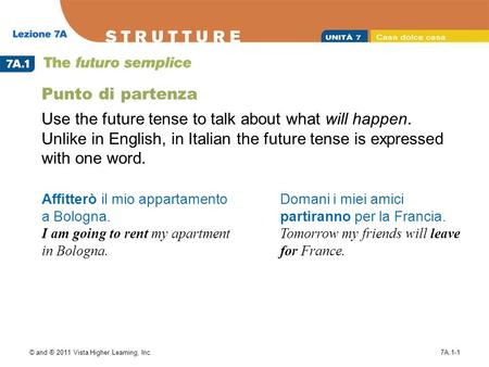 © and ® 2011 Vista Higher Learning, Inc.7A.1-1 Punto di partenza Use the future tense to talk about what will happen. Unlike in English, in Italian the.