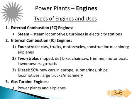 Types of Engines and Uses