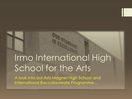 Irmo International High School for the Arts A look into our Arts Magnet High School and International Baccalaureate Programme…