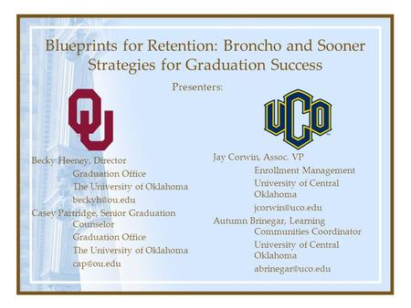 Blueprints for Retention: Broncho and Sooner Strategies for Graduation Success Becky Heeney, Director Graduation Office The University of Oklahoma