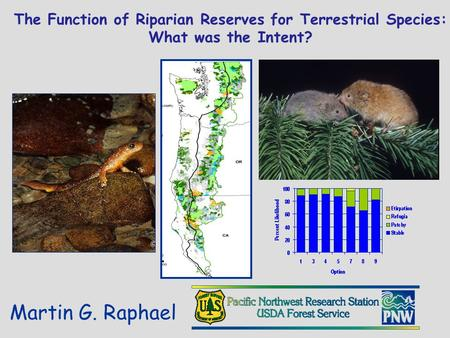 The Function of Riparian Reserves for Terrestrial Species: What was the Intent? Martin G. Raphael.