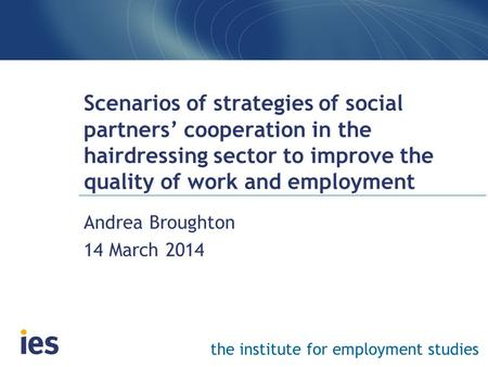 The institute for employment studies Scenarios of strategies of social partners' cooperation in the hairdressing sector to improve the quality of work.