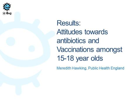 Results: Attitudes towards antibiotics and Vaccinations amongst 15-18 year olds Meredith Hawking, Public Health England.