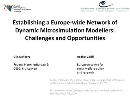 Establishing a Europe-wide Network of Dynamic Microsimulation Modellers: Challenges and Opportunities Paper presented at the « Tresury Brown Bag Lunch.