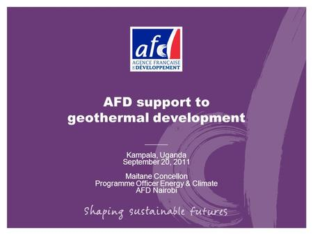 AFD support to geothermal development