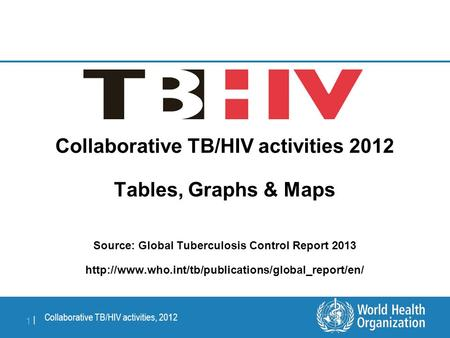 Collaborative TB/HIV activities, 2012 1 |1 | Collaborative TB/HIV activities 2012 Tables, Graphs & Maps Source: Global Tuberculosis Control Report 2013.