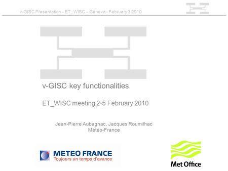 V-GISC Presentation – ET_WISC – Geneva - February 3 2010 v-GISC key functionalities ET_WISC meeting 2-5 February 2010 Jean-Pierre Aubagnac, Jacques Roumilhac.
