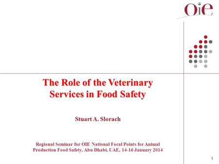 1 The Role of the Veterinary Services in Food Safety Stuart A. Slorach Regional Seminar for OIE National Focal Points for Animal Production Food Safety,