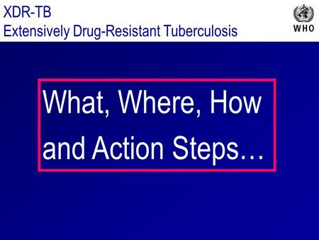 XDR-TB Extensively Drug-Resistant Tuberculosis What, Where, How and Action Steps…