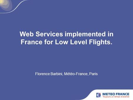 Web Services implemented in France for Low Level Flights.