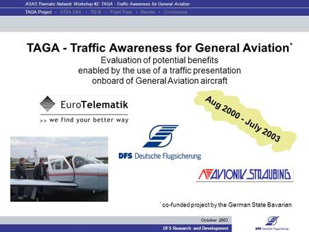 ASAS Thematic Network Workshop #2: TAGA - Traffic Awareness for General Aviation DFS Research and Development October 2003 TAGA - Traffic Awareness for.