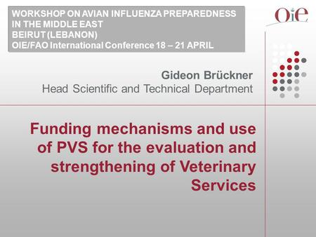 Funding mechanisms and use of PVS for the evaluation and strengthening of Veterinary Services Gideon Brückner Head Scientific and Technical Department.