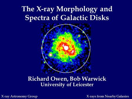 X-ray Astronomy Group Richard Owen, Bob Warwick University of Leicester The X-ray Morphology and Spectra of Galactic Disks X-rays from Nearby Galaxies.
