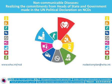 Non-communicable Diseases: Realizing the commitments from Heads of State and Government made in the UN Political Declaration on NCDs لنتحد في مكافحة الأمراض.