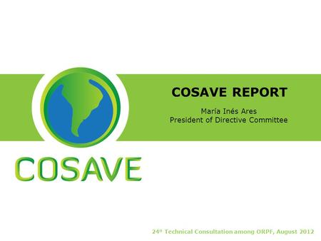 COSAVE REPORT 24º Technical Consultation among ORPF, August 2012 María Inés Ares President of Directive Committee.