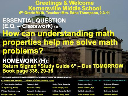 Greetings & Welcome Kernersville Middle School 6 th Grade Math, Teacher: Mrs. Edna Thompson, 2-3-11 ESSENTIAL QUESTION (E.Q. – Classwork) 5.01 How can.