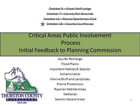 Critical Areas Public Involvement Process Initial Feedback to Planning Commission Aquifer Recharge Flood Plains Important Habitat & Species Volcanic Lahar.