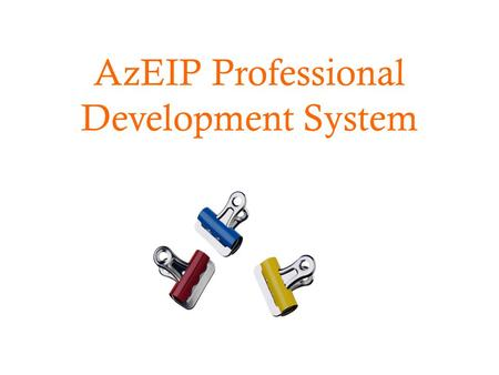 AzEIP Professional Development System. Presentation Objectives  What mandatory requirements and attributes should I look for when contracting/hiring.