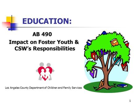 1 EDUCATION: AB 490 Impact on Foster Youth & CSW's Responsibilities Los Angeles County Department of Children and Family Services.