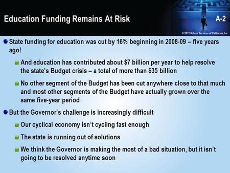 Education Funding Remains At Risk State funding for education was cut by 16% beginning in 2008-09 – five years ago! And education has contributed about.