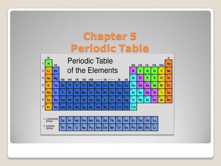 Chapter 5 Periodic Table Mendeleev noticed that when the elements were arranged in order of increasing atomic mass, certain similarities in their chemical.