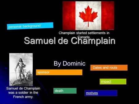 Samuel de Champlain By Dominic Samuel de Champlain was a soldier in the French army. Champlain started settlements in Canada. personal background sponsor.