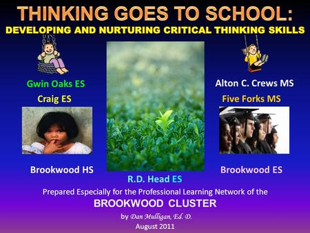 Prepared Especially for the Professional Learning Network of the BROOKWOOD CLUSTER by Dan Mulligan, Ed. D. August 2011 Craig ES Brookwood HS Alton C. Crews.