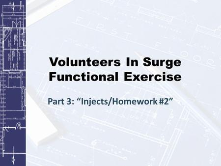 "Volunteers In Surge Functional Exercise Part 3: ""Injects/Homework #2"""