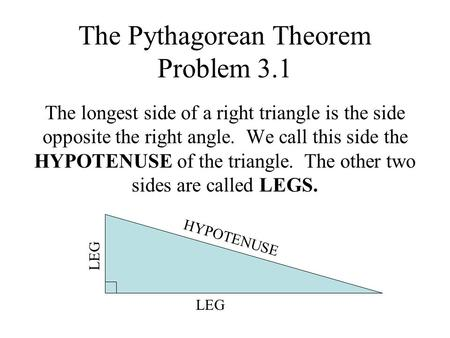 The Pythagorean Theorem Problem 3.1 The longest side of a right triangle is the side opposite the right angle. We call this side the HYPOTENUSE of the.