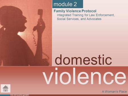 HSA-SAS mod2dv.ppt (5/07) violence domestic A Woman's Place module 2 Family Violence Protocol Integrated Training for Law Enforcement, Social Services,