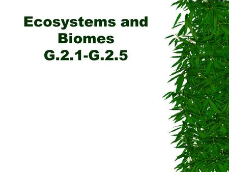 Ecosystems and Biomes G.2.1-G.2.5. Primary Production in Ecosystems  Energy hits the earth in the form of solar radiation.  A small percentage of this.