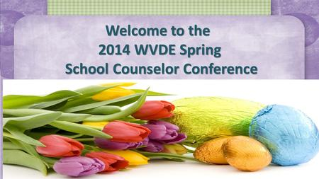 Welcome to the 2014 WVDE Spring School Counselor Conference.