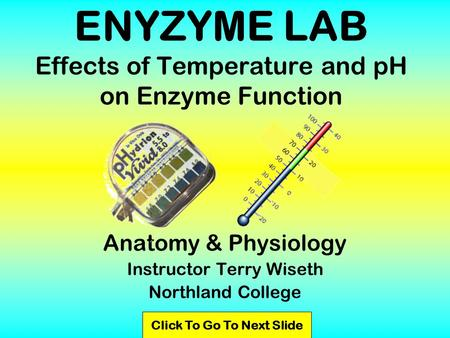 ENYZYME LAB Effects of Temperature and pH on Enzyme Function Anatomy & Physiology Instructor Terry Wiseth Northland College Click To Go To Next Slide.