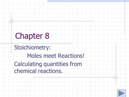 Chapter 8 Stoichiometry: Moles meet Reactions! Calculating quantities from chemical reactions.
