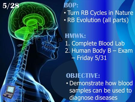 5/28 BOP: Turn RB Cycles in Nature RB Evolution (all parts) HMWK: 1.Complete Blood Lab 2.Human Body B – Exam – Friday 5/31 OBJECTIVE: Demonstrate how blood.