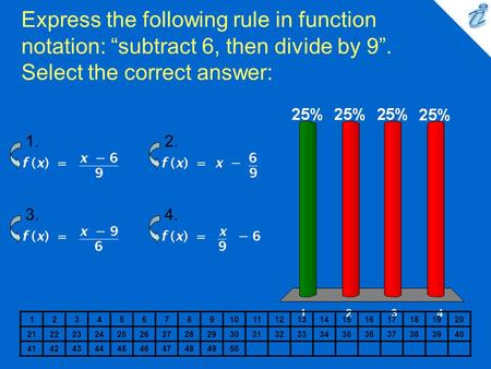 "Express the following rule in function notation: ""subtract 6, then divide by 9"". Select the correct answer: {image} 1. 2. 3. 4. 1 2 3 4 5 6 7 8 9 10 11."