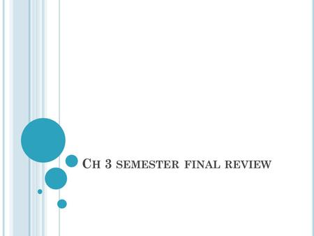 C H 3 SEMESTER FINAL REVIEW. #1. F IND THE SOLUTION TO THE SYSTEM S.(3, 0) B.(2, 3) O. (.5, 7.5)