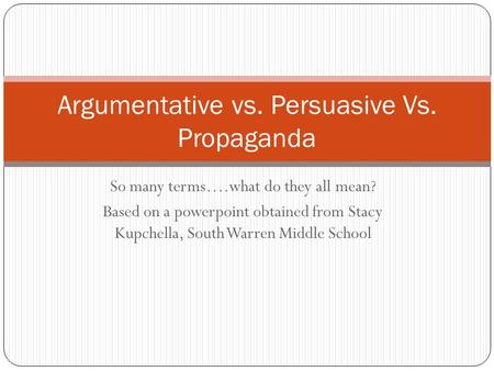 So many terms….what do they all mean? Based on a powerpoint obtained from Stacy Kupchella, South Warren Middle School Argumentative vs. Persuasive Vs.