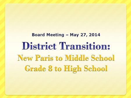 Board Meeting – May 27, 2014.  Communication  Transportation  Maintenance  The Countdown!