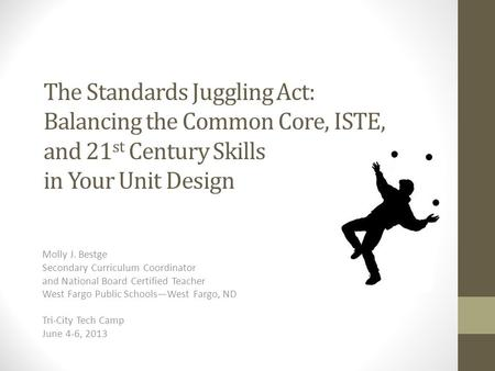 The Standards Juggling Act: Balancing the Common Core, ISTE, and 21 st Century Skills in Your Unit Design Molly J. Bestge Secondary Curriculum Coordinator.