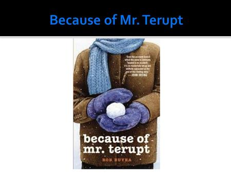 Mr. Terupt is not an ordinary teacher, he makes the classroom a very fun place. But not much gets past Mr. Terupt. He may be the most interesting teacher.