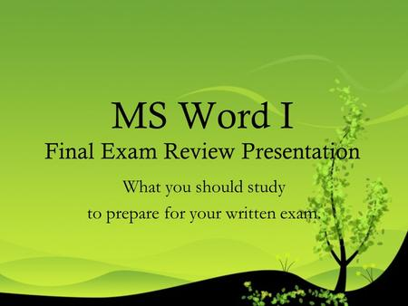 MS Word I Final Exam Review Presentation What you should study to prepare for your written exam.
